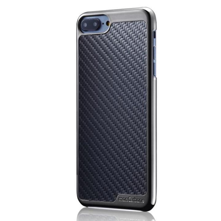 【iPhone8/7ケース】monCarbone KHROME ソフトカーボンケース ガンメタル/ブラック iPhone 8/7_0