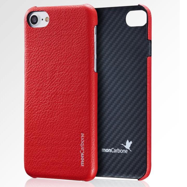 iPhone8/7 ケース monCarbone HOVERSKIN ナッパレザー/ケブラーケース レッド iPhone 8/7_0