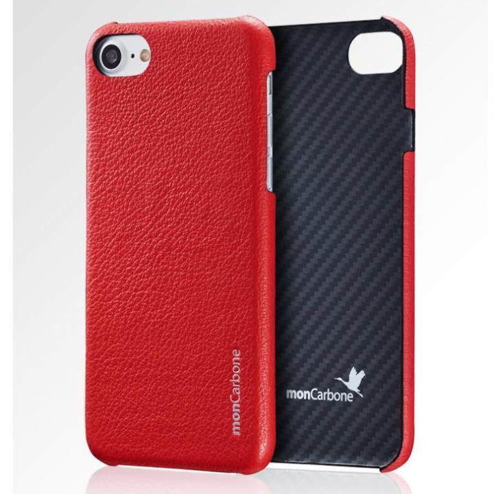 monCarbone HOVERSKIN ナッパレザー/ケブラーケース レッド iPhone 8 Plus/7 Plus