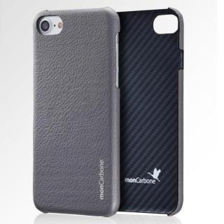 iPhone8 Plus/7 Plus ケース monCarbone HOVERSKIN ナッパレザー/ケブラーケース グレー iPhone 8 Plus/7 Plus