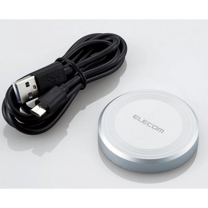 Qi規格対応ワイヤレス充電器 シルバー_0