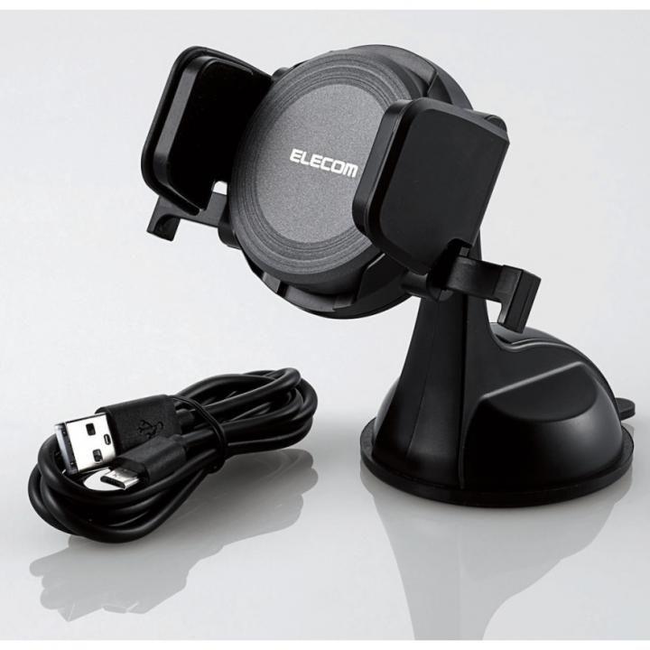 Qi規格対応ワイヤレス充電式車載ホルダー ブラック_0