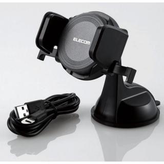 Qi規格対応ワイヤレス充電式車載ホルダー ブラック