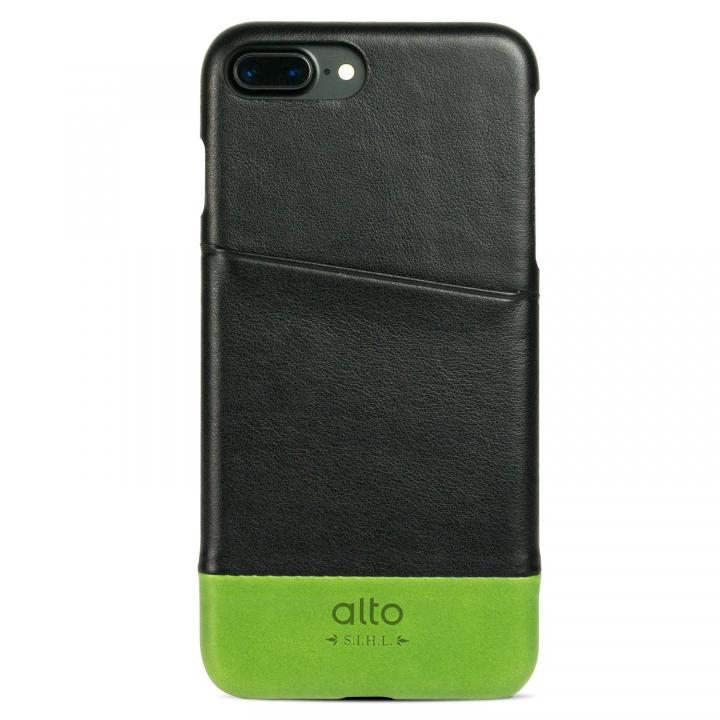 iPhone7 Plus ケース イタリア製本革ケース カードホルダー搭載 alto Metro ブラック/グリーン iPhone 7 Plus_0
