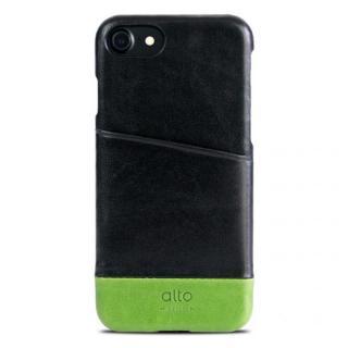 イタリア製本革ケース カードホルダー搭載 alto Metro ブラック/グリーン iPhone 7