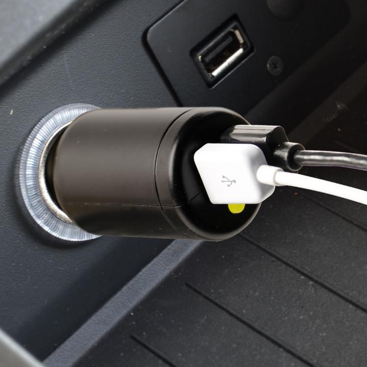 車載充電器 USBx2ポート 2.4A+1.5A ダイレクト型 12/24V両対応 ブラック