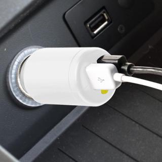 車載充電器 USBx2ポート 2.4A+1.5A ダイレクト型 12/24V両対応 ホワイト