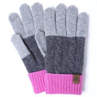 スマホ対応手袋 iTouch Gloves CABLE グレー×チャコール×ピンク