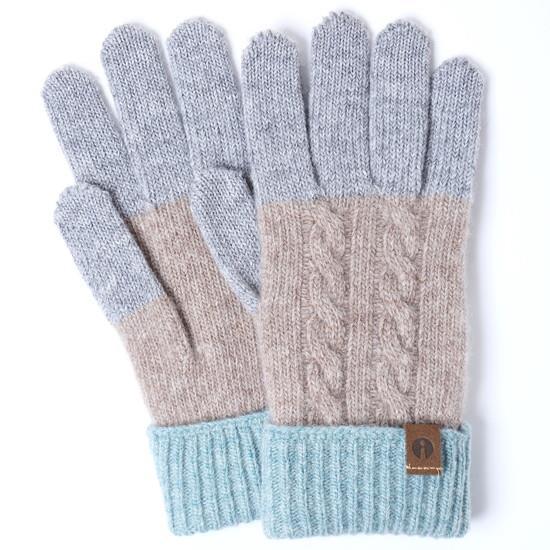 スマホ対応手袋 iTouch Gloves CABLE グレー×ベージュ×ミント_0