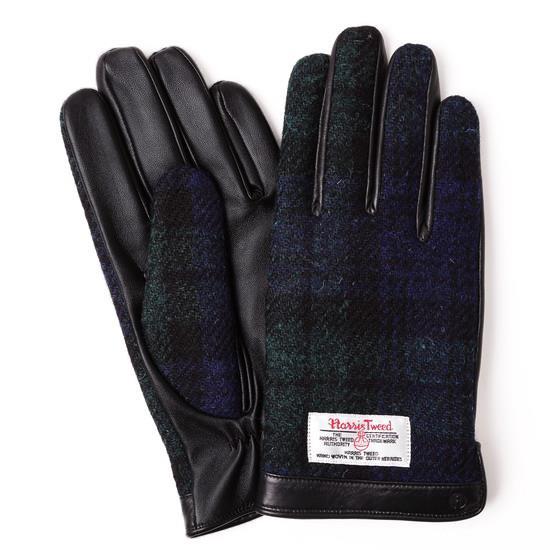 スマホ対応手袋 iTouch Gloves  ハリスツイード L/ブラック×ネイビーチェック_0