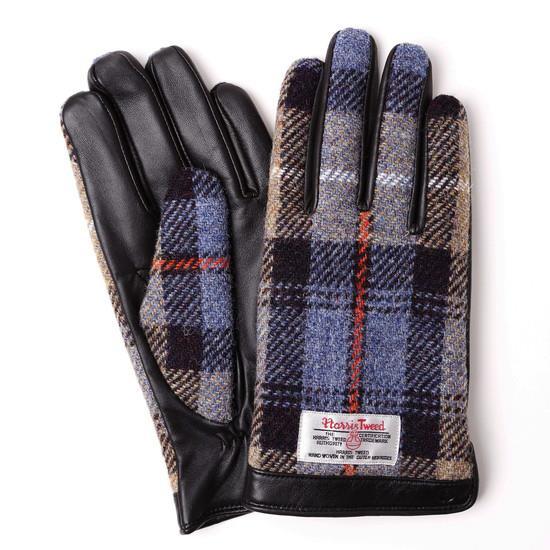スマホ対応手袋 iTouch Gloves  ハリスツイード L/ブラック×ブルーチェック_0