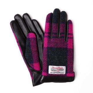 スマホ対応手袋 iTouch Gloves  ハリスツイード S/ブラック×ピンクチェック