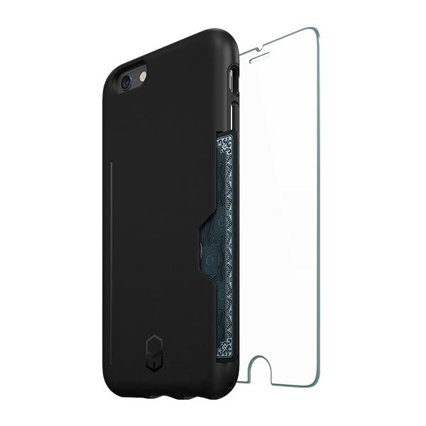 iPhone6s/6 ケース ICカード対応耐衝撃ケース + 強化ガラス ITG Level PRO ブラック iPhone 6s/6_0