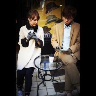 スマホ対応手袋 iTouch Gloves 手のひら側革製ブラック(ヘリンボーン)Sサイズ_7