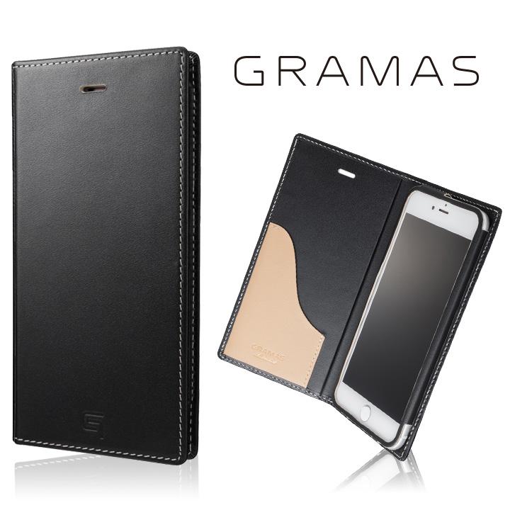 [数量限定モデル]GRAMAS フルレザー手帳型ケース ブラック/ベージュ iPhone 7 Plus