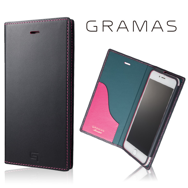 [数量限定モデル]GRAMAS フルレザー手帳型ケースネイビー/ピンク iPhone 7 Plus