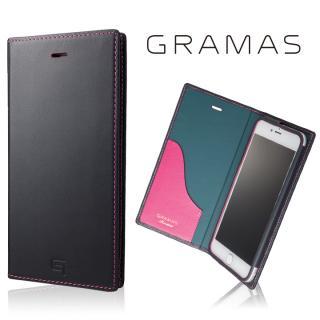 [数量限定モデル]GRAMAS フルレザー手帳型ケースネイビー/ピンク iPhone 8 Plus/7 Plus