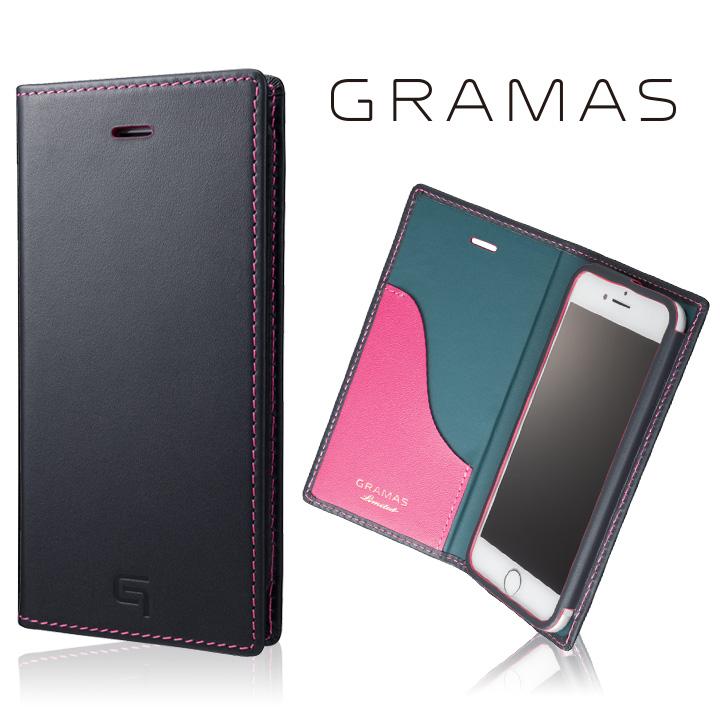 [数量限定モデル]GRAMAS フルレザー手帳型ケース ネイビー/ピンク iPhone 8/7