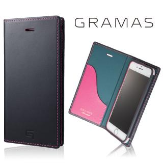 [数量限定モデル]GRAMAS フルレザー手帳型ケース ネイビー/ピンク iPhone 7