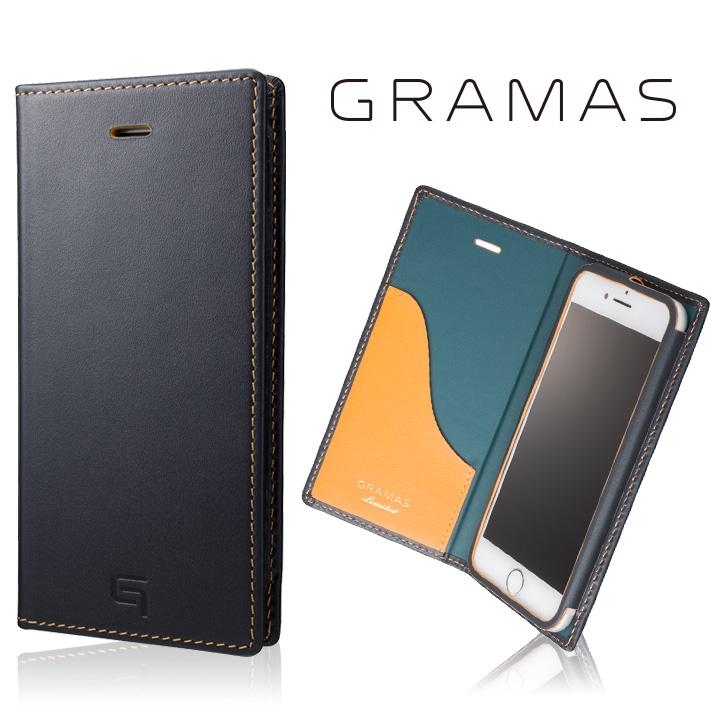 【iPhone8/7ケース】[数量限定モデル]GRAMAS フルレザー手帳型ケース ネイビー/イエロー iPhone 8/7_0