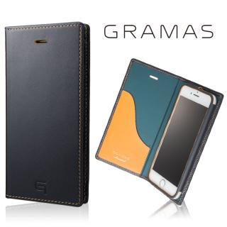 [数量限定モデル]GRAMAS フルレザー手帳型ケース ネイビー/イエロー iPhone 8/7