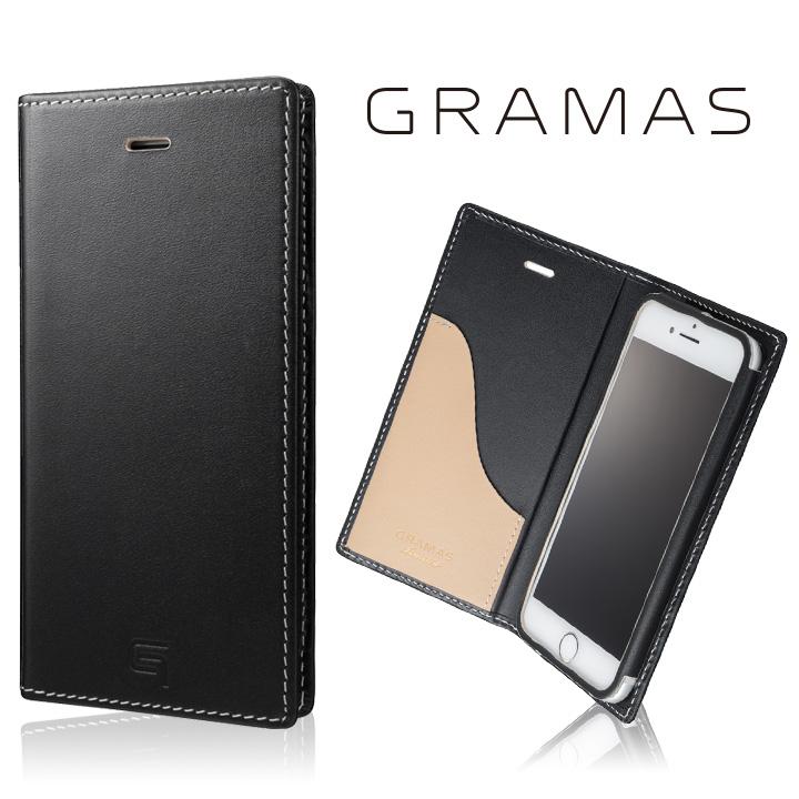 【iPhone8/7ケース】[数量限定モデル]GRAMAS フルレザー手帳型ケース ブラック/ベージュ iPhone 8/7_0