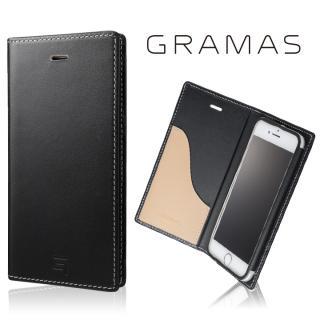 [数量限定モデル]GRAMAS フルレザー手帳型ケース ブラック/ベージュ iPhone 7