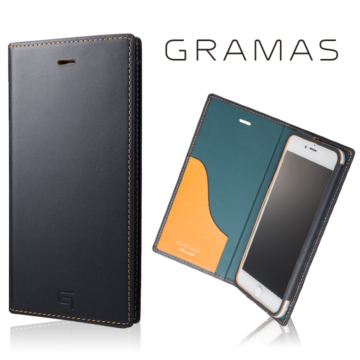 【iPhone8 Plus/7 Plusケース】[数量限定モデル]GRAMAS フルレザー手帳型ケース ネイビー/イエロー iPhone 8 Plus/7 Plus_0