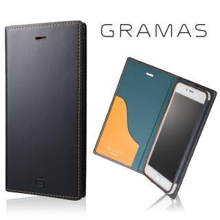 [数量限定モデル]GRAMAS フルレザー手帳型ケース ネイビー/イエロー iPhone 7 Plus