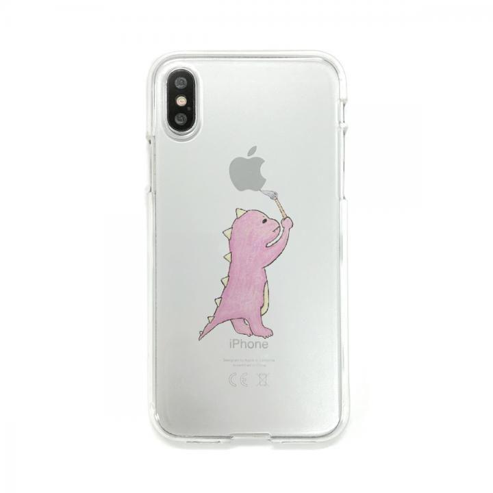 【iPhone XS/Xケース】Dparks ソフトクリアケース お絵かきザウルスピンク iPhone XS/X_0