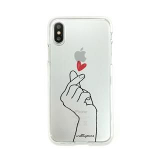 Dparks ソフトクリアケース 指ハート iPhone XS/X
