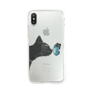Dparks ソフトクリアケース ネコと蝶々 iPhone X