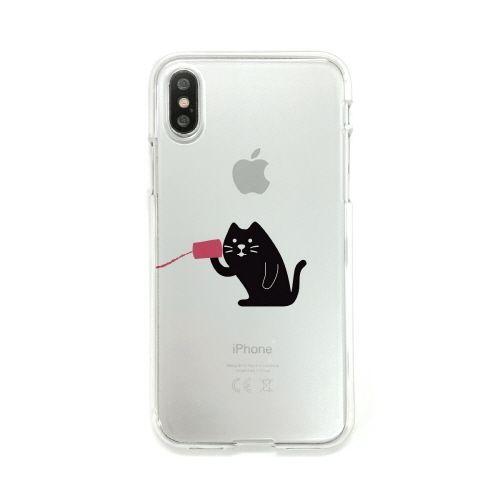 iPhone XS/X ケース Dparks ソフトクリアケース 糸電話聞くネコ iPhone XS/X_0