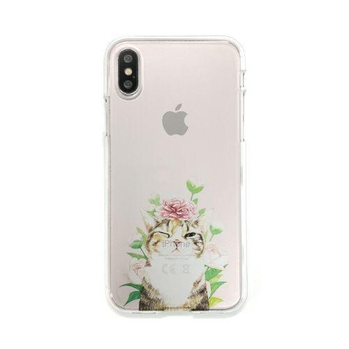 iPhone XS/X ケース Dparks ソフトクリアケース パステルネコシャクヤク iPhone XS/X_0