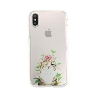 iPhone XS/X ケース Dparks ソフトクリアケース パステルネコシャクヤク iPhone XS/X