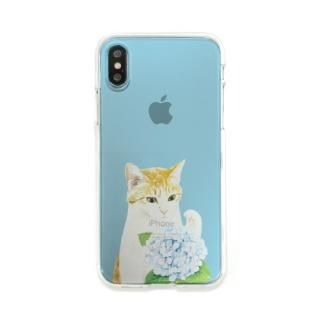 Dparks ソフトクリアケース パステルネコアジサイ iPhone XS/X