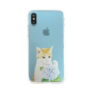 【iPhone X ケース】Dparks ソフトクリアケース パステルネコアジサイ iPhone XS/X
