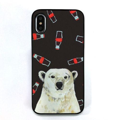 iPhone XS/X ケース Dparks ブラックケース 白熊とコーラ iPhone XS/X_0