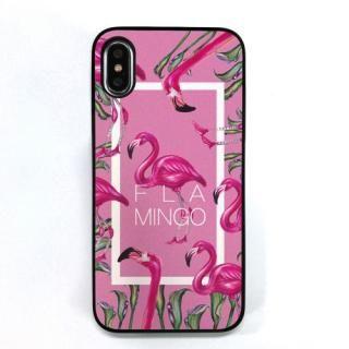Dparks ブラックケース FLAMINGO SQUARE ピンク iPhone XS/X
