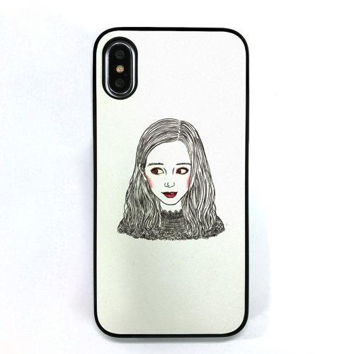 iPhone XS/X ケース Dparks ブラックケース 少女のイラストホワイト iPhone XS/X_0
