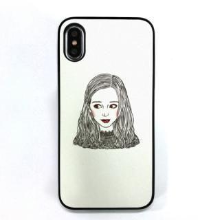 Dparks ブラックケース 少女のイラストホワイト iPhone XS/X