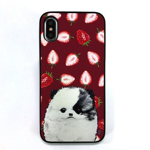 【iPhone XS/Xケース】Dparks ブラックケース ポメラニアンといちご iPhone XS/X_0