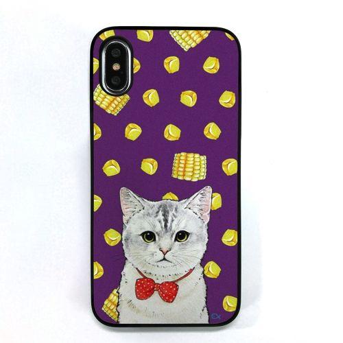 Dparks ブラックケース ネコととうもろこし iPhone X