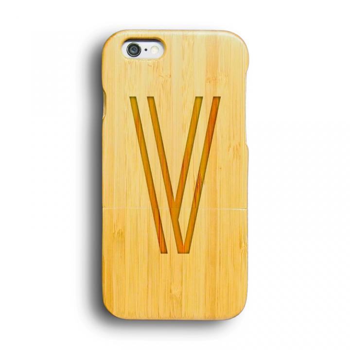 iPhone6 ケース kibaco 天然竹ケース アルファベットV iPhone 6ケース_0