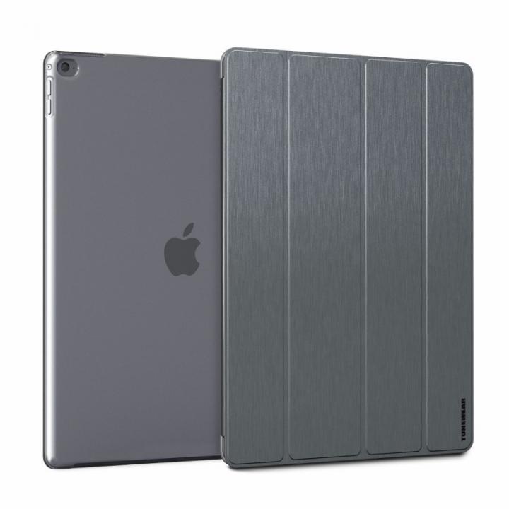 ブラッシュドメタル加工PUレザーケース TUNEWEAR グレイ 12.9インチiPad Pro