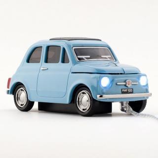 車型PC有線マウス FIAT500 OLD ブルー