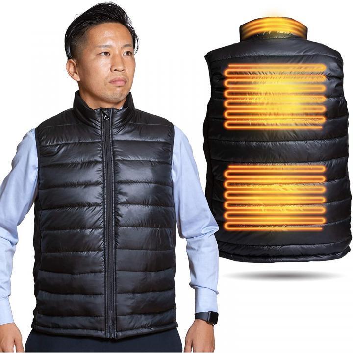 電熱ヒーターベスト ダウンタイプ  (ブラックカラー) XLサイズ【2021年2月上旬】_0