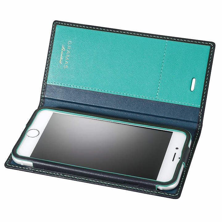iPhone6s/6 ケース [数量限定モデル]GRAMAS フルレザー手帳型ケース ネイビー/ターコイズ iPhone 6s/6_0