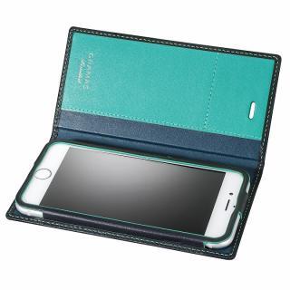 [数量限定モデル]GRAMAS フルレザー手帳型ケース ネイビー/ターコイズ iPhone 6