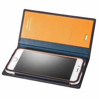 [数量限定モデル]GRAMAS フルレザー手帳型ケース ネイビー/イエロー iPhone 6s/6
